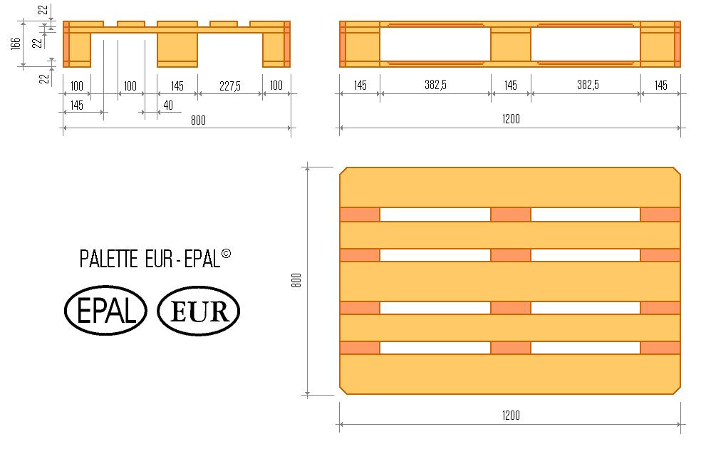 Palets europa plan de un palet epal - Dimension d une palette europe ...